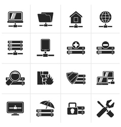 Black server hosting and internet icons vector image vector image