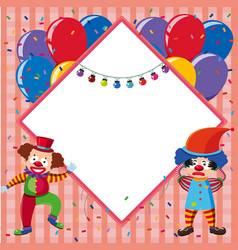 border template with colorful balloons and jesters vector image vector image