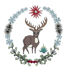 cartoon style deer in forestry wreath vector image vector image