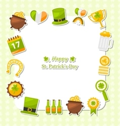 Celebration Card with Traditional Symbols for St vector image vector image