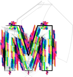 Colorful Font Letter M vector image vector image