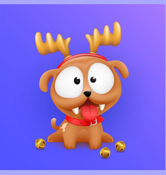 cute little puppy dog character vector image vector image