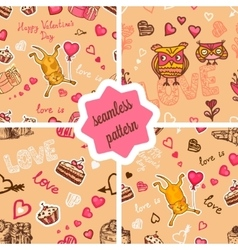 cute valentines patterns set vector image vector image