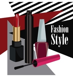 Fashion style cosmetics mascara lipstick and nail vector