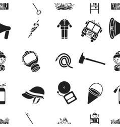 Fire department pattern icons in black style big vector