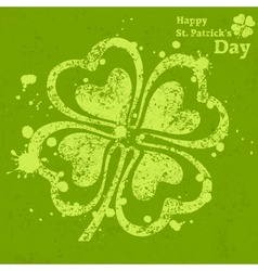 Four leaf clover grunge on vector image vector image