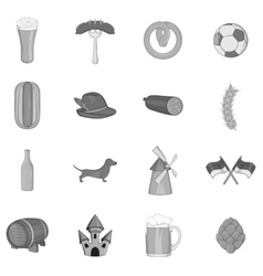 Germany icons set black monochrome style vector