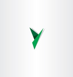 green paper letter y triangles logo vector image