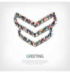 greeting people sign 3d vector image vector image