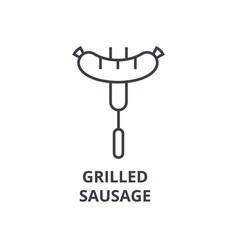 grilled sausage line icon outline sign linear vector image vector image