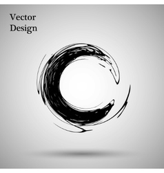 Hand drawn circle shape label logo design vector image vector image