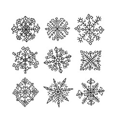 hand drawn snowflakes ethnic design vector image vector image