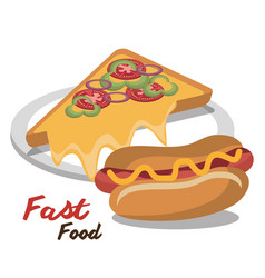 Hot dog pizza fast food design isolated vector