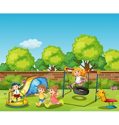 Kids playing in the playground at daytime vector image vector image
