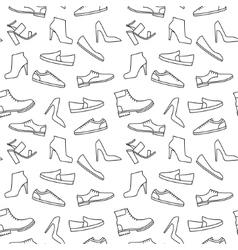 monochrome shoe pattern vector image vector image