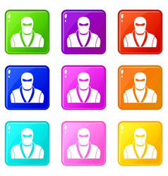 Ninja in black mask icons 9 set vector