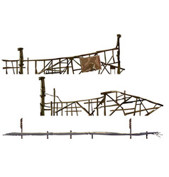 painted old dilapidated fences made of sticks vector image vector image