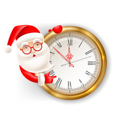 santa claus and clock vector image