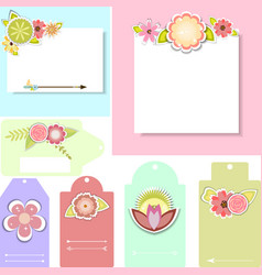 Set of beautiful templates for cards and tags vector