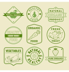 Set of Healthy Food Badges and Logos vector image vector image