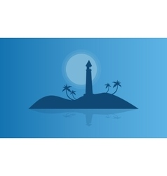 Silhouette of islands at night vector