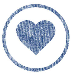 Valentine heart rounded fabric textured icon vector