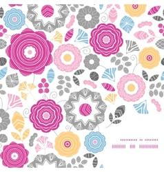 Vibrant floral scaterred frame corner pattern vector