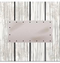 White leather label on distressed wood panel vector