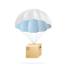 White parachute with cardboard box vector image vector image