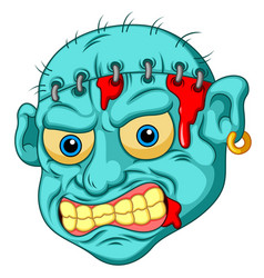 zombie head cartoon vector image