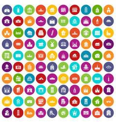 100 building icons set color vector