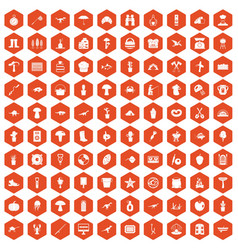 100 hobby icons hexagon orange vector