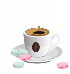 Coffee cup with macaroons dessert vector