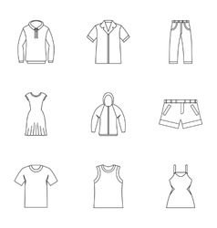 Kind of clothing icons set outline style vector