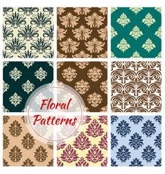 Floral ornament damask seamless patterns vector