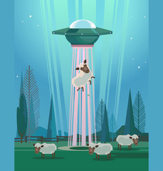 Ufo stealing sheep character vector