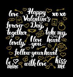 valentine day calligraphy design vector image