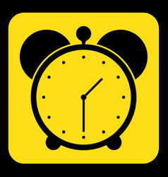 Yellow black information sign - alarm clock icon vector