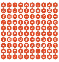 100 hobby icons hexagon orange vector