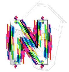 Colorful font letter n vector