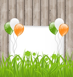 Greeting card with grass and balloons in irish vector