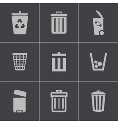 Black trash can icons set vector