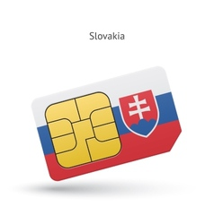 Slovakia mobile phone sim card with flag vector