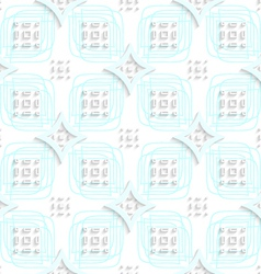 White rectangle groups on blue ornament seamless vector
