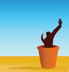Flowerpot with man vector