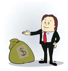 Business man with sack of money vector