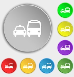 Taxi icon sign symbol on five flat buttons vector