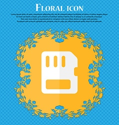 Compact memory card floral flat design on a blue vector