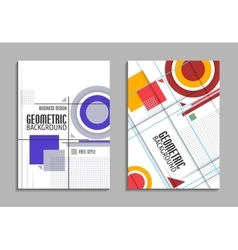 Set of business card Abstract geometric design vector image