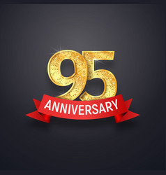 95 th anniversary logo template ninety-five years vector image vector image